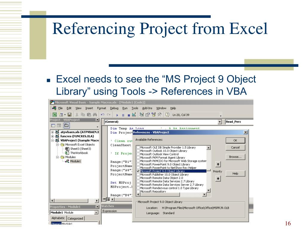 Referencing Project from Excel