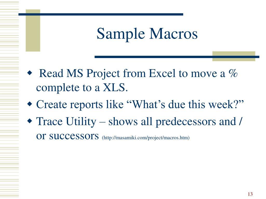 Sample Macros