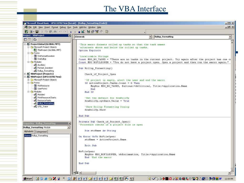 The VBA Interface