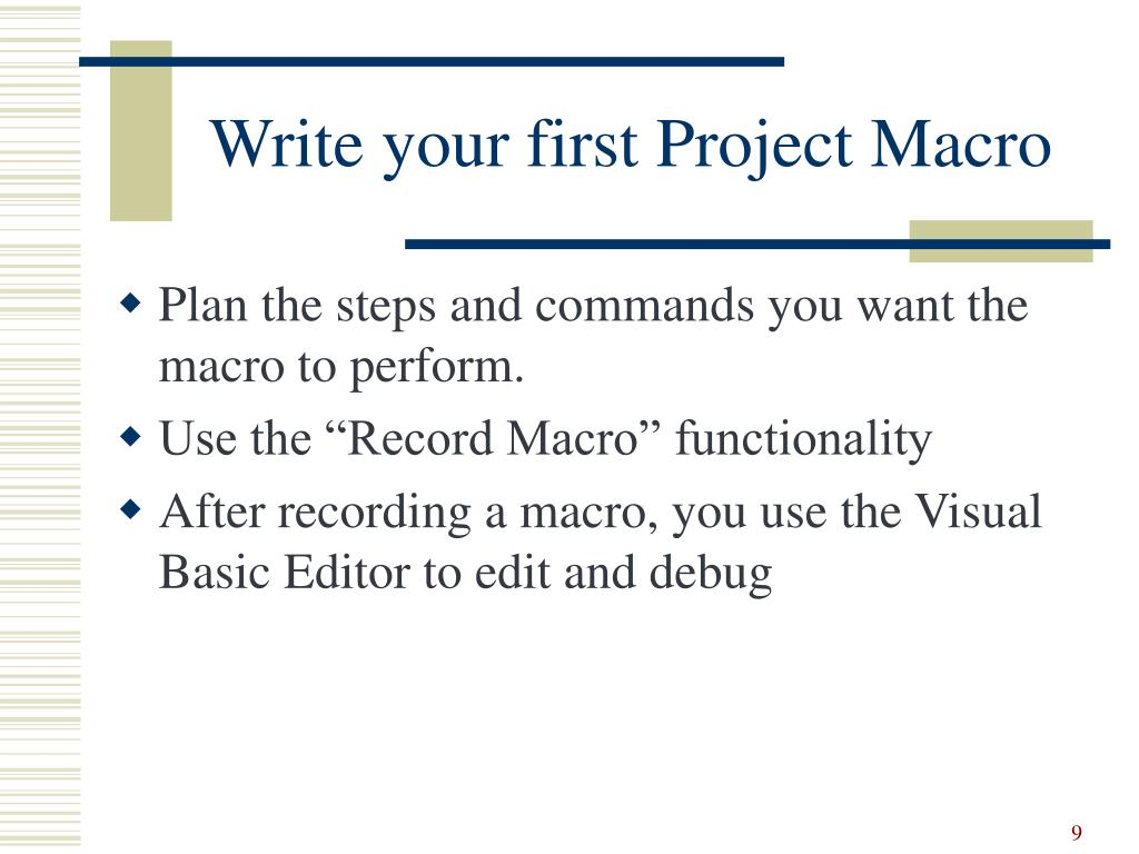 Write your first Project Macro