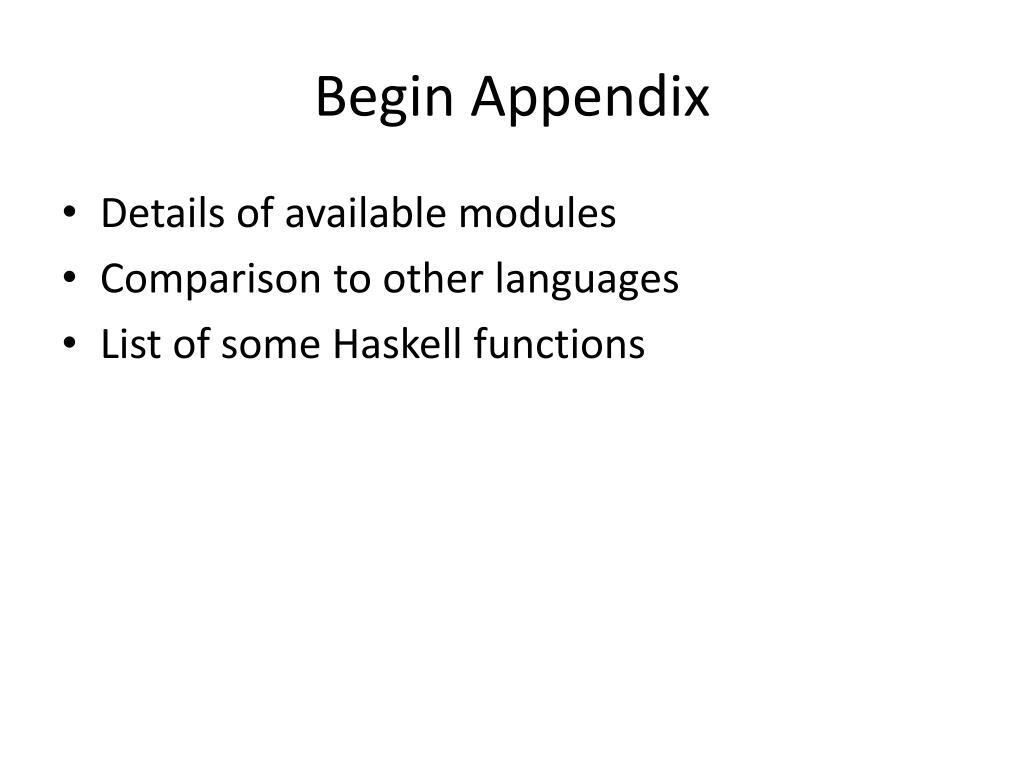 Begin Appendix