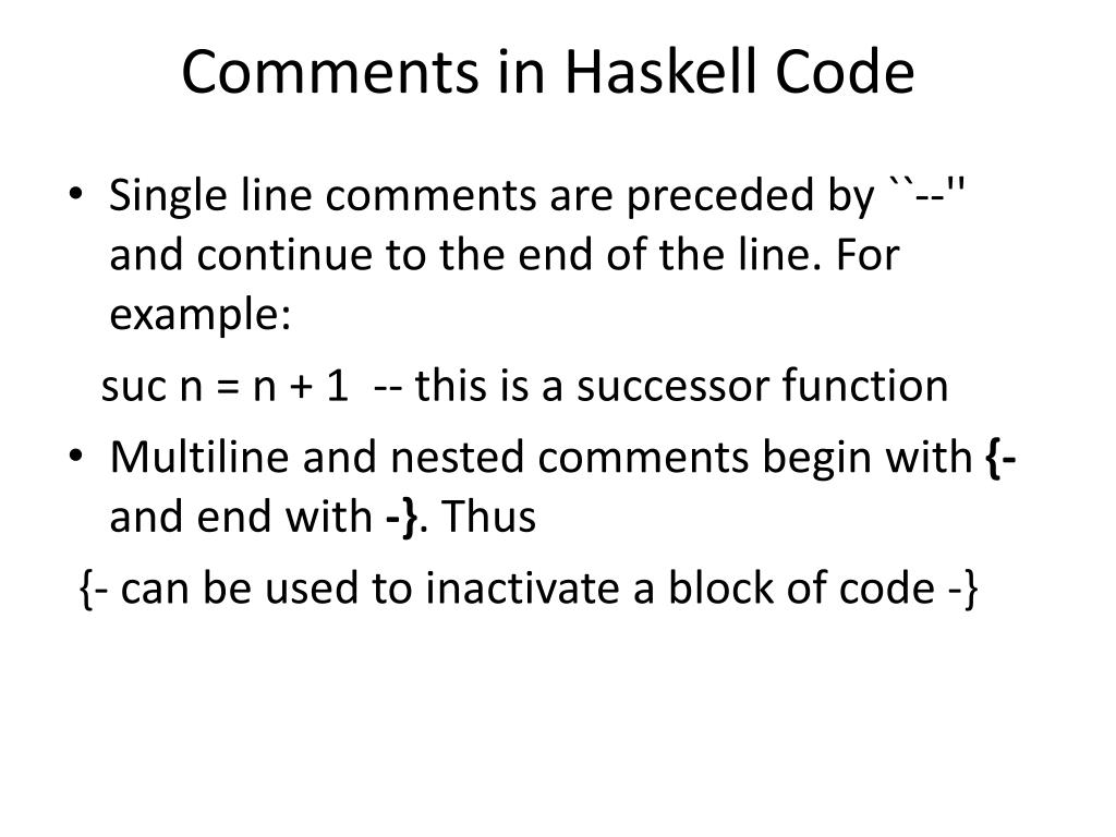 Comments in Haskell Code