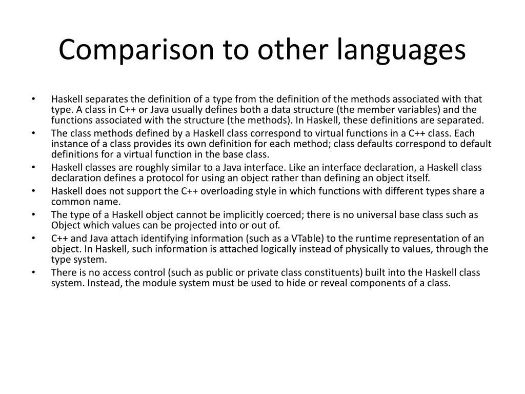 Comparison to other languages