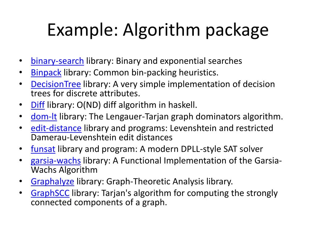 Example: Algorithm package