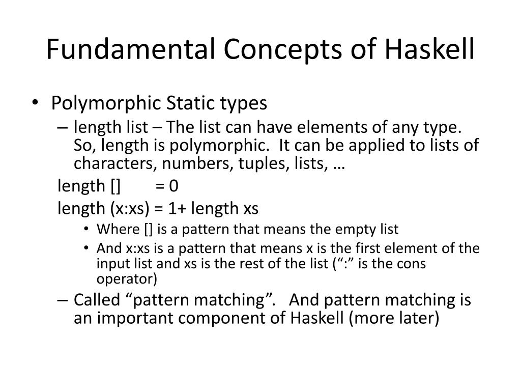 Fundamental Concepts of Haskell