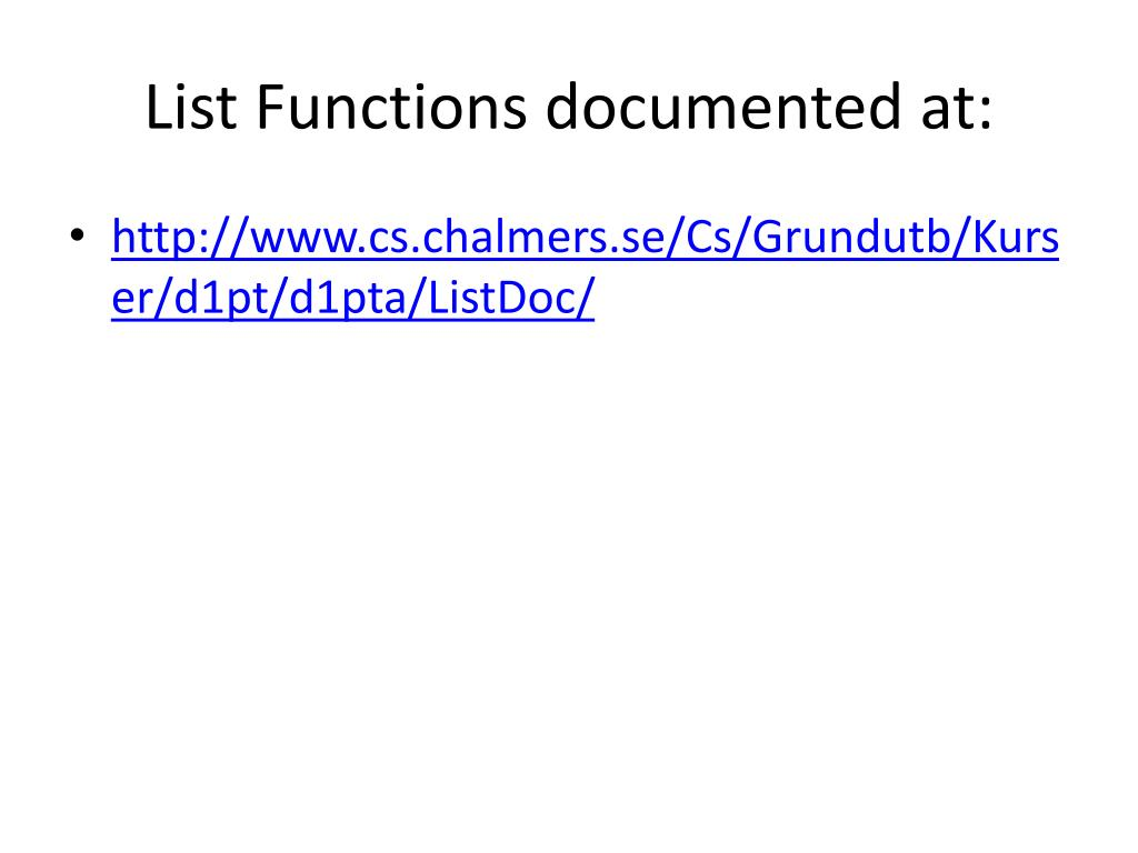 List Functions documented at: