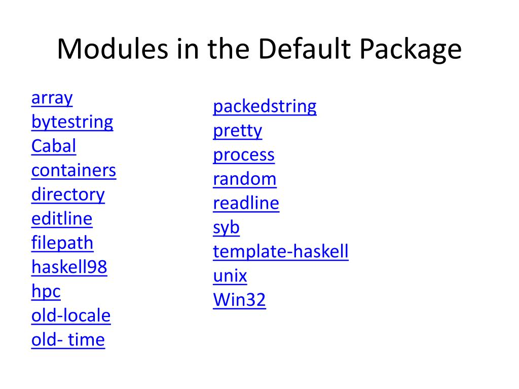 Modules in the Default Package