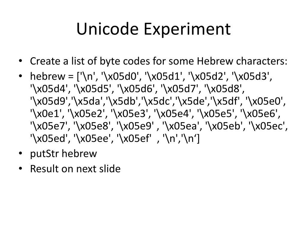 Unicode Experiment