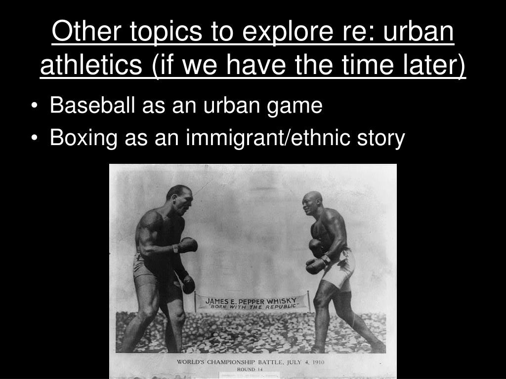 Other topics to explore re: urban athletics (if we have the time later)