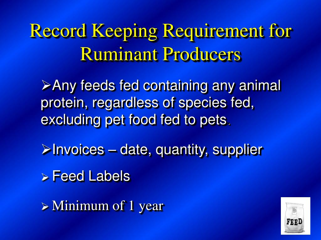 Record Keeping Requirement for Ruminant Producers
