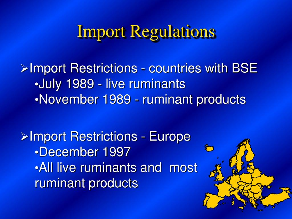 Import Restrictions - countries with BSE