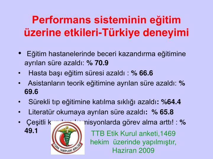 Performans sisteminin eğitim üzerine etkileri-Türkiye deneyimi