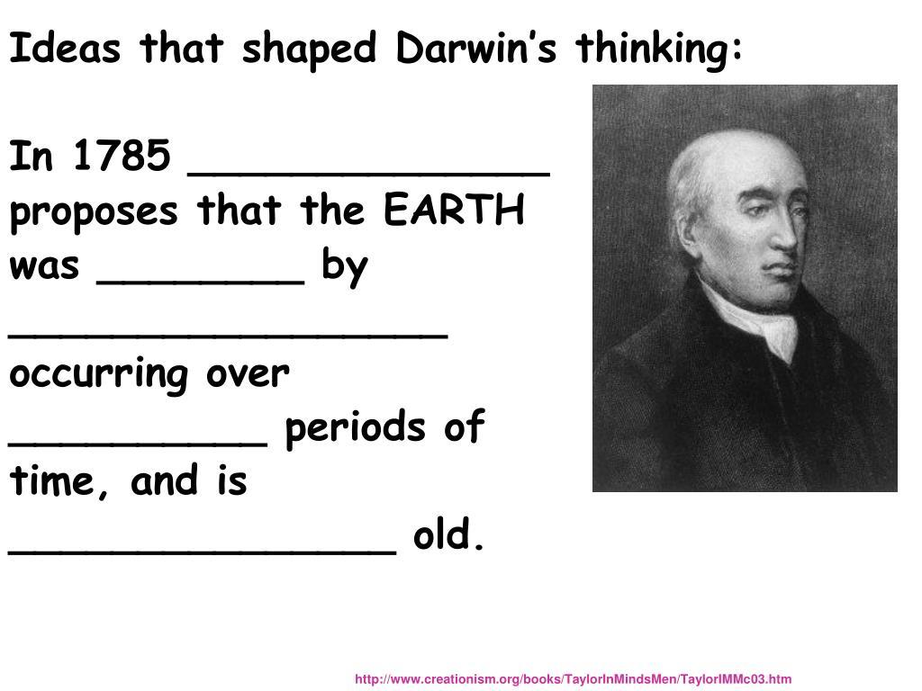 Ideas that shaped Darwin's thinking: