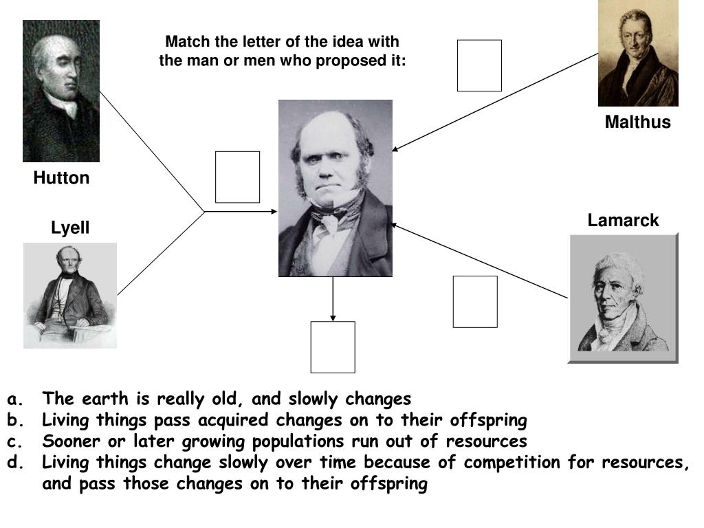 Match the letter of the idea with