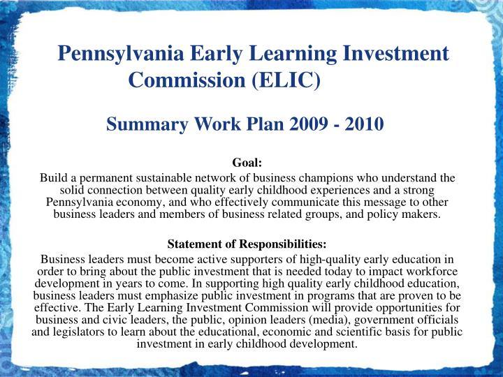 Summary Work Plan 2009 - 2010