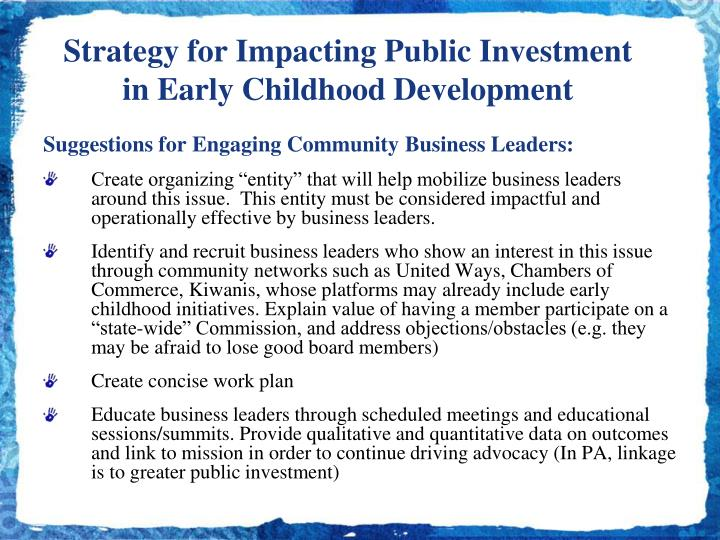 Strategy for Impacting Public Investment