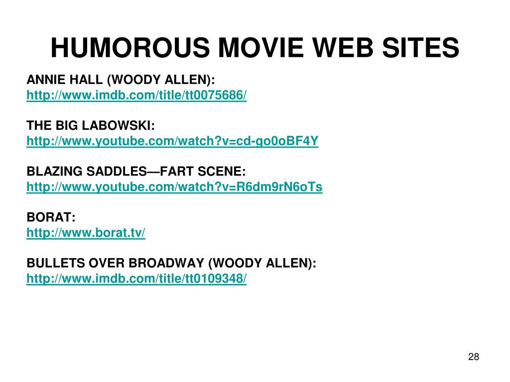 HUMOROUS MOVIE WEB SITES
