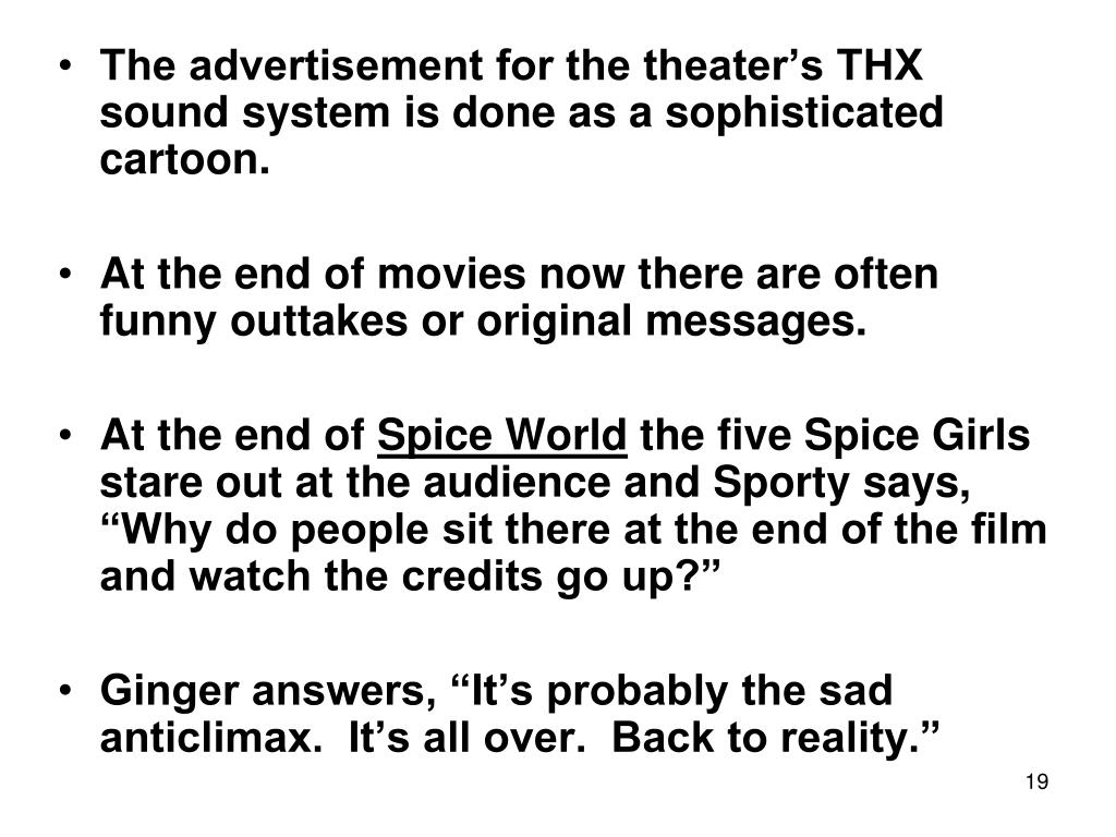 The advertisement for the theater's THX sound system is done as a sophisticated cartoon.
