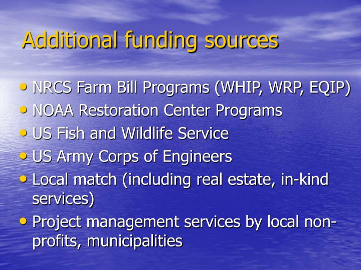 Additional funding sources