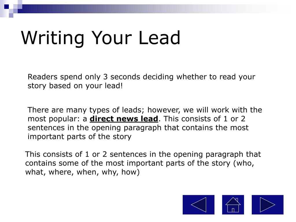 Writing Your Lead
