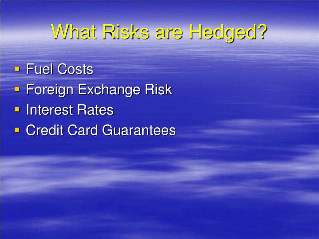 What Risks are Hedged?