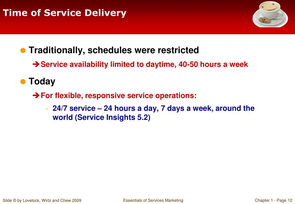 Time of Service Delivery