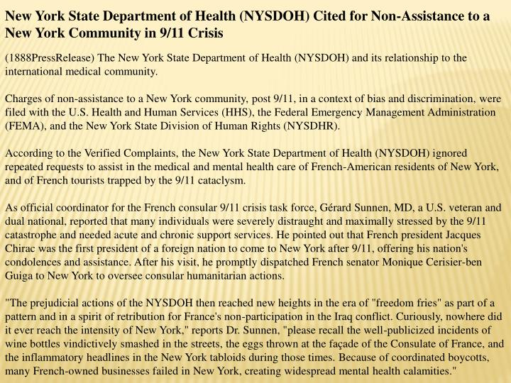 New York State Department of Health (NYSDOH) Cited for Non-Assistance to a New York Community in 9/1...
