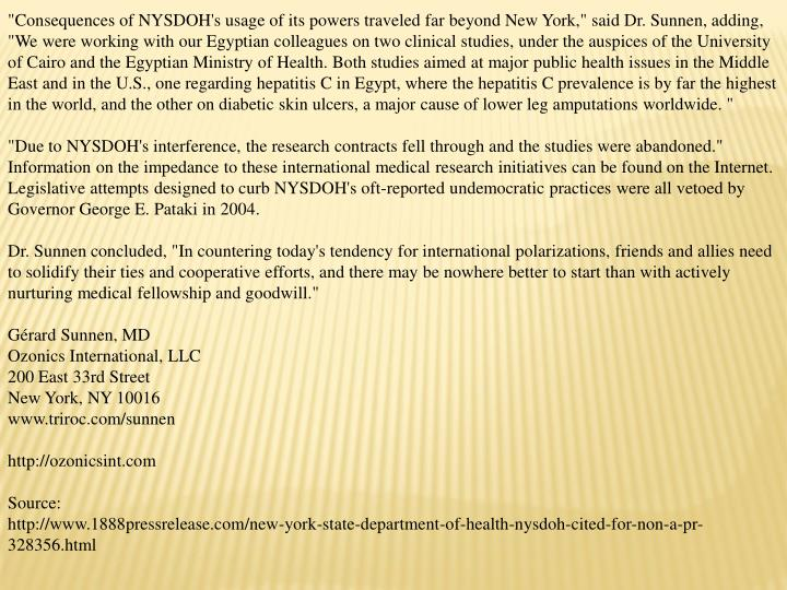 """Consequences of NYSDOH's usage of its powers traveled far beyond New York,"" said Dr. Sunnen, adding..."