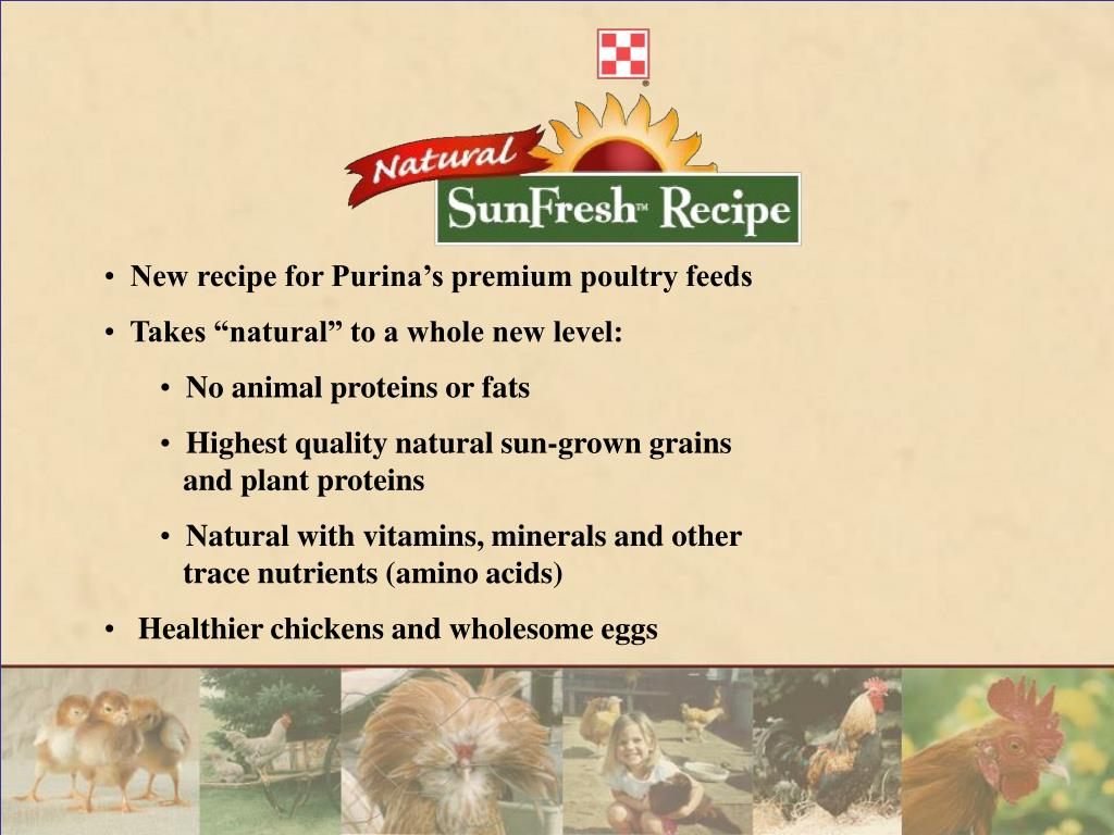 New recipe for Purina's premium poultry feeds