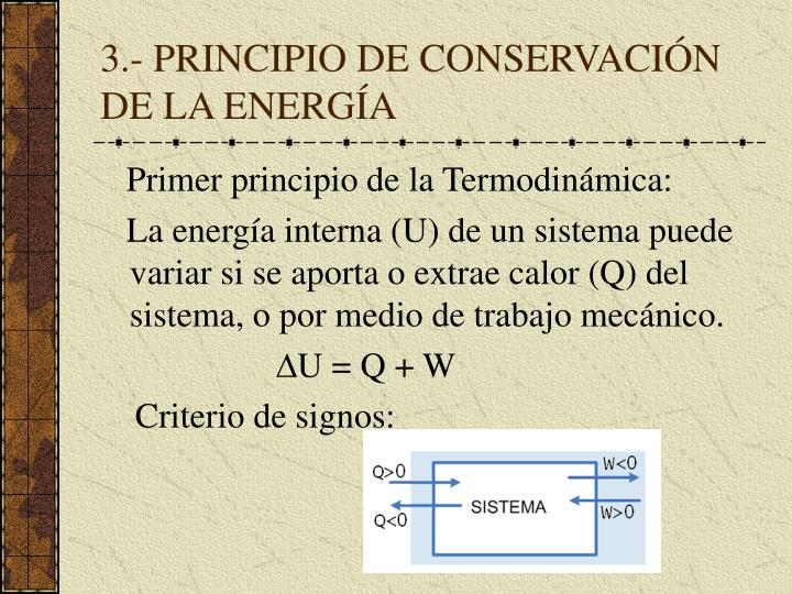 3.- PRINCIPIO DE CONSERVACIÓN DE LA ENERGÍA