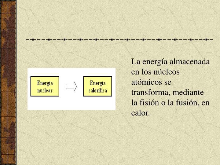 La energía almacenada en los núcleos atómicos se transforma, mediante la fisión o la fusión, en calor.