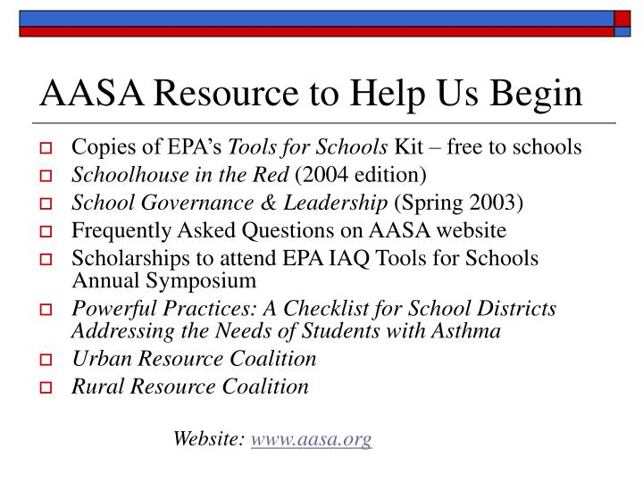 AASA Resource to Help Us Begin
