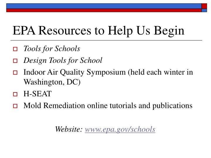 EPA Resources to Help Us Begin