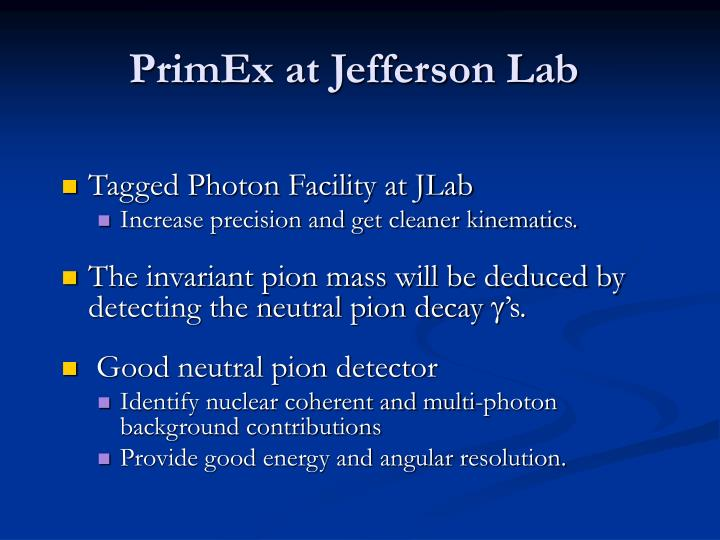 PrimEx at Jefferson Lab