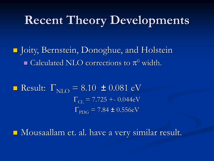 Recent Theory Developments