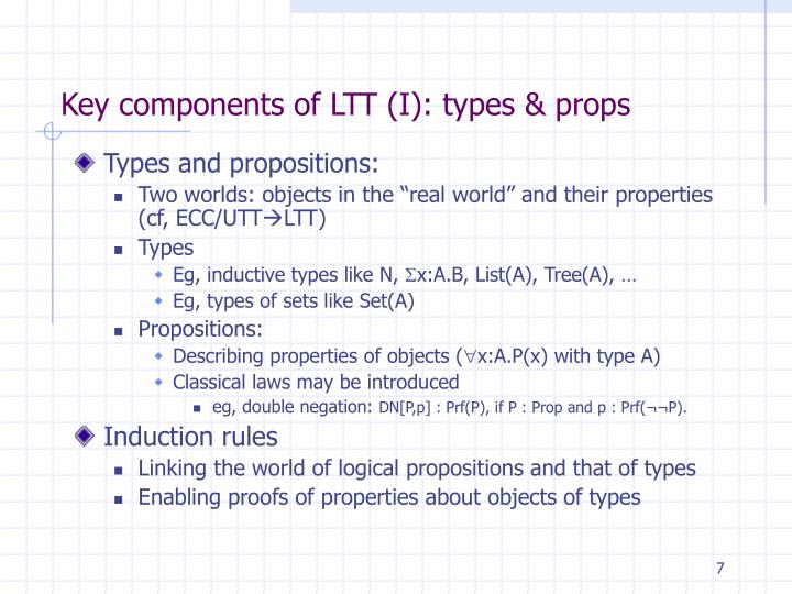 Key components of LTT (I): types & props
