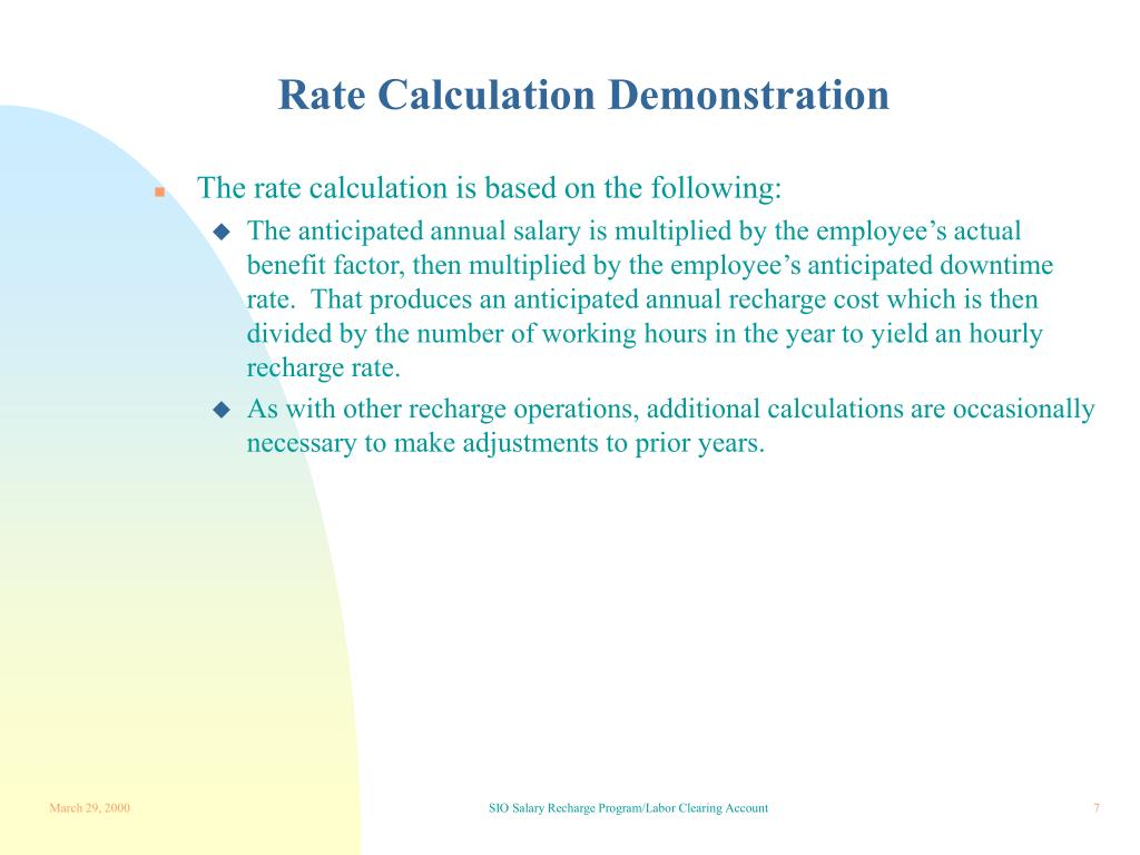 Rate Calculation Demonstration
