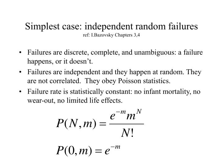 Simplest case independent random failures ref i bazovsky chapters 3 4