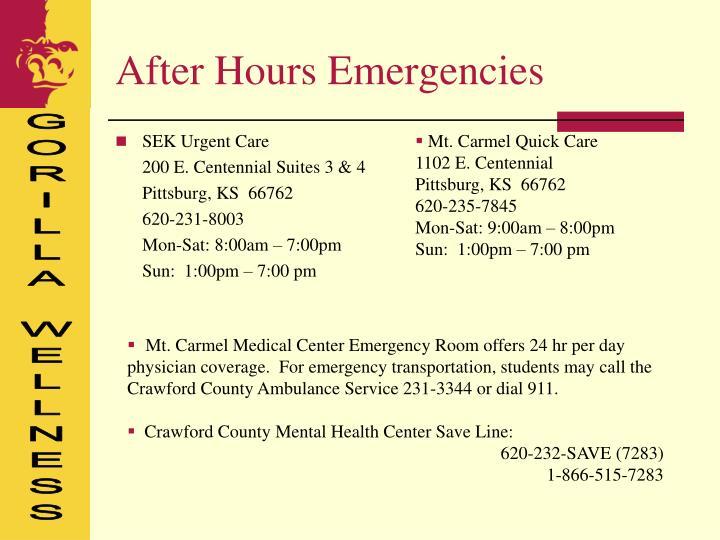 After Hours Emergencies
