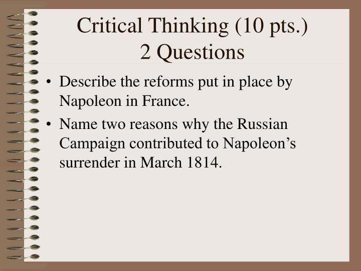 Critical Thinking (10 pts.)