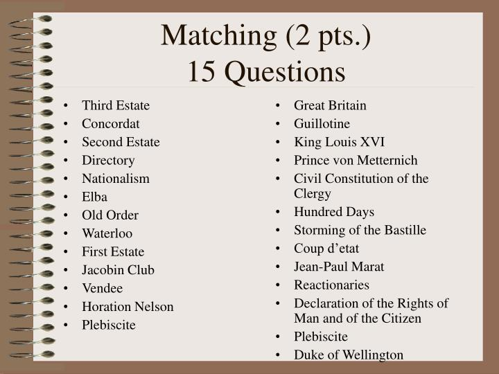 Matching 2 pts 15 questions