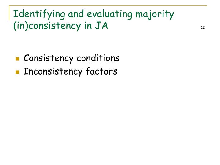Identifying and evaluating majority (in)consistency in JA