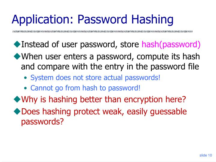 Application: Password Hashing
