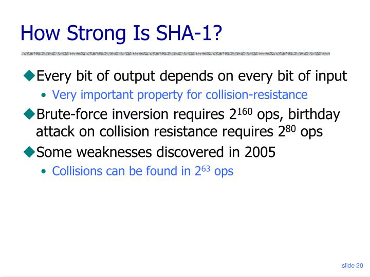 How Strong Is SHA-1?