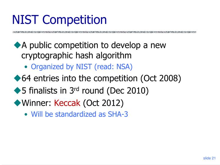 NIST Competition