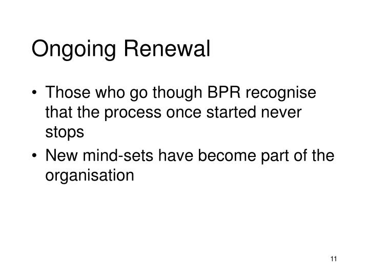 Ongoing Renewal