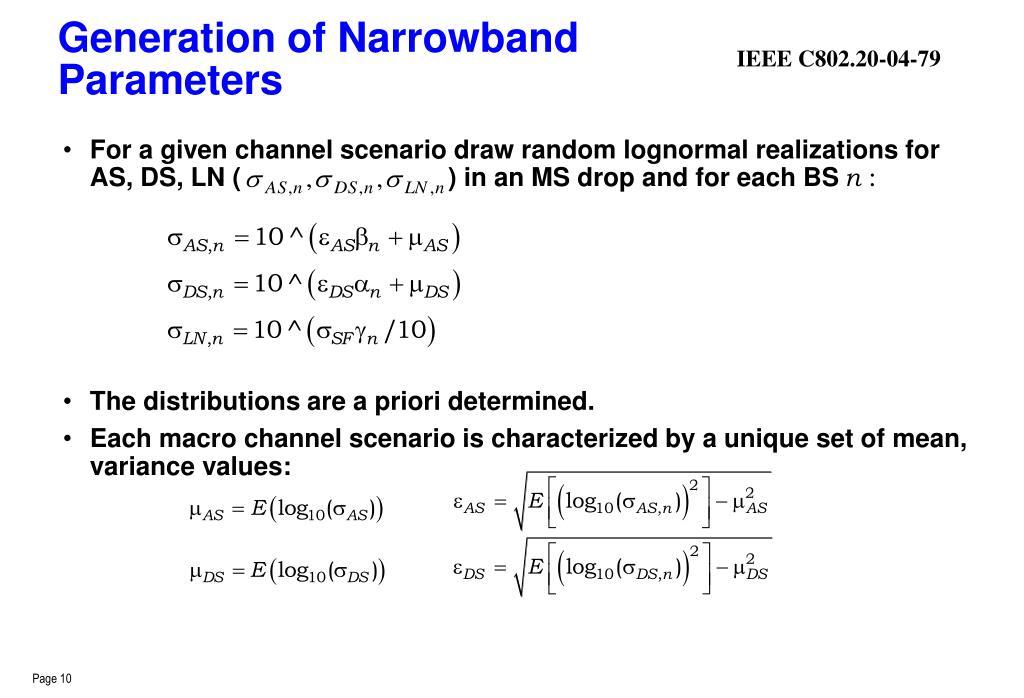 Generation of Narrowband