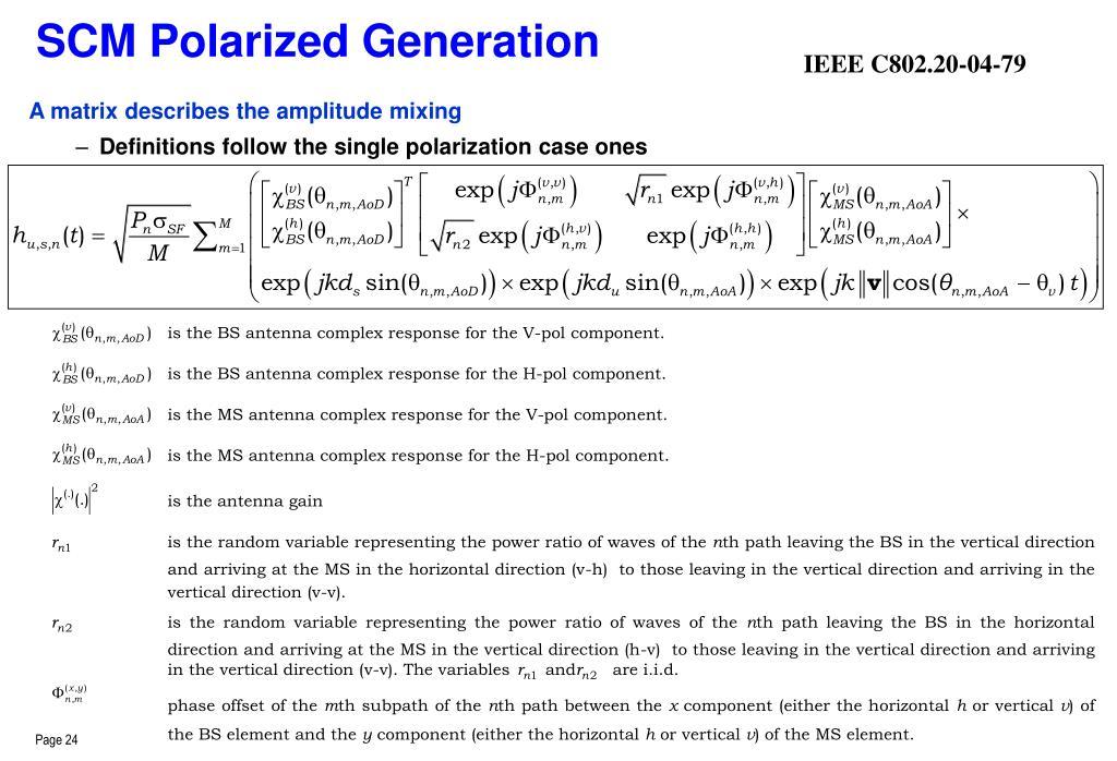SCM Polarized Generation