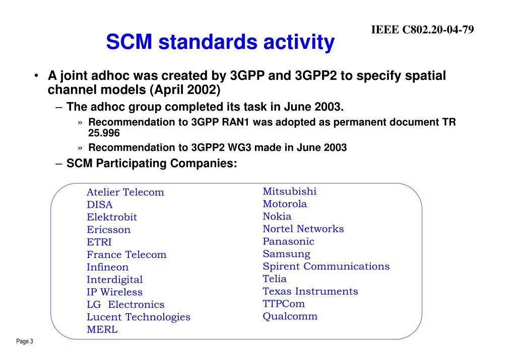 SCM standards activity