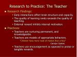 research to practice the teacher